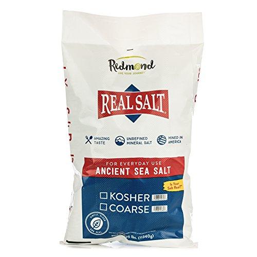 Redmond Real Sea Salt - Natural Unrefined Gluten Free Kosher, 25 Pound Bag
