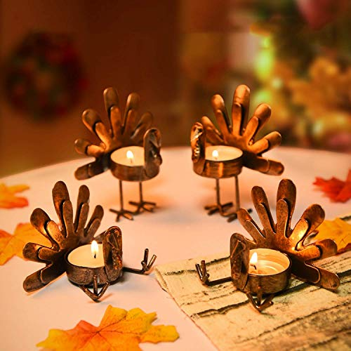 Rocinha Thanksgiving Turkey Candle Holder, Set of 6 Tea Candles Holders Holiday Candlestick Autumn Harvest Thanksgiving Decoration for Home, Table, Fireplace, Window