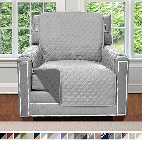 Sofa Shield Original Patent Pending Reversible Chair Protector for Seat Width up to 23 Inch, Furniture Slipcover, 2 Inch Strap, Chairs Slip Cover Throw for Pets, Cats, Armchair, Light Gray Charcoal