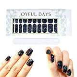 JOYFUL DAYS | 20 Tiras de Uñas | Pegatinas de Uñas Decorativas | Nail Polish Strips | No Tóxico | DIY Arte de Uñas Stickers | Incluye Lima de Uñas (Negro Brillante)
