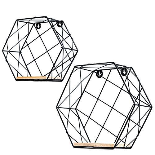 Estantes flotantes, estantes decorativos montados en la pared, alambre de metal hexagonal y madera Pantalla multiuso y estante de almacenamiento para la decoración del hogar (Negro, Rejilla)