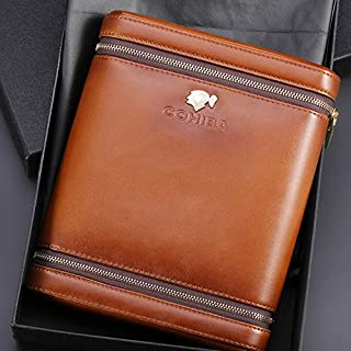 Special Offer Brown Leather Cedar Wood 6 Ct Cigar Humidor Case Holder with Humidifier (Brown)