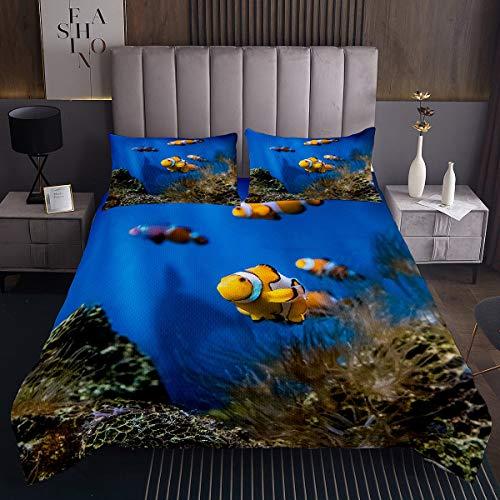 Ozean Steppdecke Nemo Fische Tagesdecke 170x210cm für Kinder Jungen Mädchen Meer Unterwasser Welt Dekor Bettüberwurf Wassertier Gedruckt Wohndecke 2St