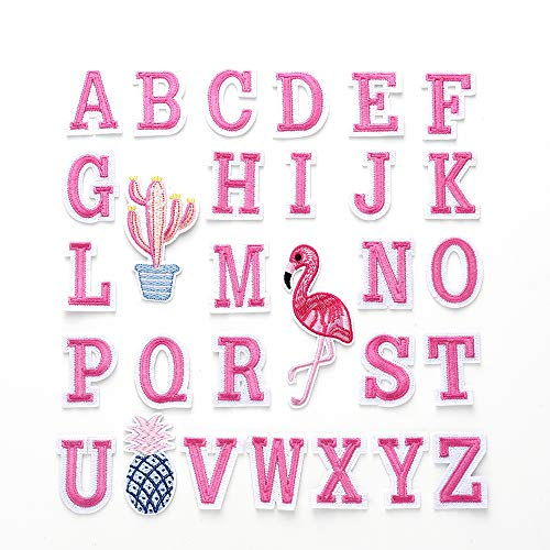 55 Pieces Iron on Letter Patches, Alphabet Applique Patches, Sew on Appliques with Embroidery Patch A-Z, Decorative Repair Patches for Clothing, Shirts, Shoes(52 Letters/3 Patterns/Pink)