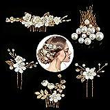 Horquillas Pelo Mujer de Novia, Taumie 22 Piezas Horquillas para el pelo de boda, Perlas de Diamantes Horquillas, Pinzas para el Cabello en Forma de U para la Boda y Fiesta