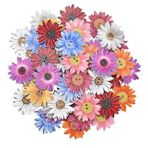 50 Piezas Botones Madera de Crisantemo Botones de Madera