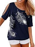 YOINS - Camiseta informal de verano para mujer, hombros descubiertos, cuello redondo, con cordones, color sólido