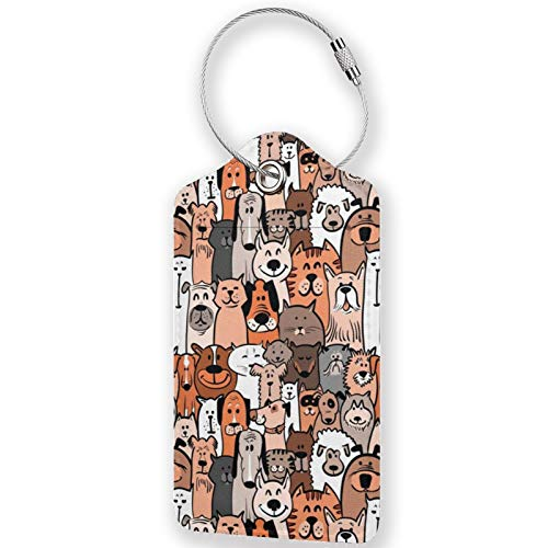 Pet Cats and Dogs Doodle PU Leather Luggage Tags,Waterproof Name ID Labels with Stainless Steel Loop for Travel Baggage Bag Suitcase(1pcs)