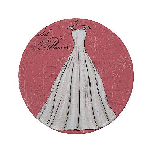 Rutschfreies Gummi-rundes Mauspad Brautduschen-Dekorationen rosa Grunge-Hintergrund-Hochzeits-Brautkleid-Party-Bild Koralle Schwarzweiss 7,9 'x 7,9' x3MM