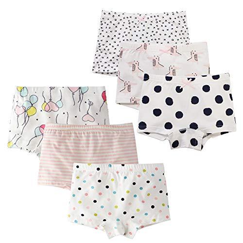 Mädchen Cartoon Unterhosen Baby Schlüpfer Boxershorts Weich Baumwolle 6er Pack Welpenkombination + Herzkombination Shorts S