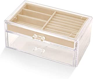 Transparent Jewelry Storage Display Box Acrylic Material Two-Layer Makeup Organizers,Beige