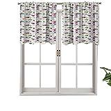Hiiiman Cenefa de cortina para interiores y hogares, bolas de punto de ganchillo para manualidades, hilo de hilo, juego de 2, 42 x 36 pulgadas para baño y café