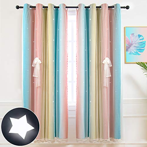 Hughapy Star Curtains Stars Blackout Curtains for Kids Girls Bedroom Living Room Colorful Double Layer Star Cut Out Stripe Window Curtains, 1 Panel -( 52W x 84L, Pink / Blue)