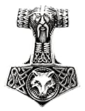 Kiss of Leather - Colgante del martillo de Thor grande de plata de ley