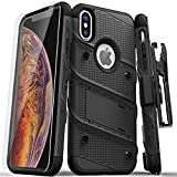 Zizo [Bolt Series] with Free [iPhone X Screen Protector] Kickstand [12 ft. Military Grade Drop Tested] Holster Belt Clip