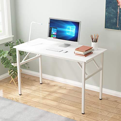 DlandHome Tavolo pieghevole 120 x 60 cm, senza bisogno di installazione, tavola in legno composito, scrivania per computer e postazione di lavoro, bianco e bianco