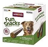 animonda Fun Snacks Kaustangen, Dog Stick für ausgewachsene Hunde, Geschmacksrichtung Strauß, 500 g