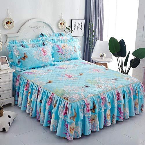 CYYyang Protector de colchón, algodón, poliéster, Hoja de Cama de Encaje de Falda de Cama engrosada-26_150 * 200cm