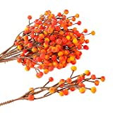 Factory Direct Craft Bundle of Fall Variegated Yellow and Orange Artificial Berry Picks for Indoor/Outdoor Use