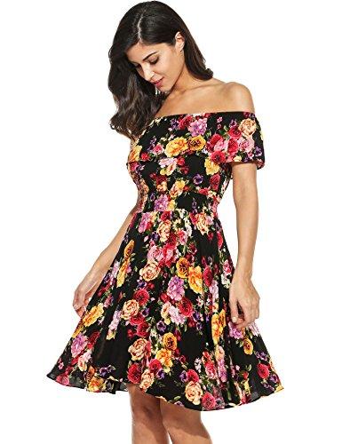 Meaneor Frauen Sommer Casual Blumen aus Schulter gekräuselt ein Line Swing Kleid, Mehrfarbig (Blumen), EU 38(Herstellergröße: S)