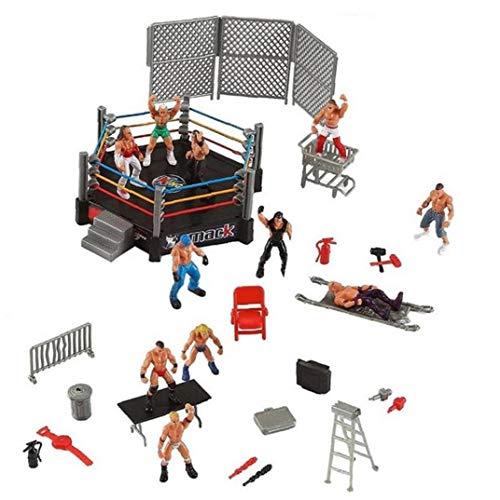 1set Wrestler Atleta Wrestling Figura Gladiatore Modello Set con Combattere Stazione Gabbia Montata Battaglia Giocattolo Gioco