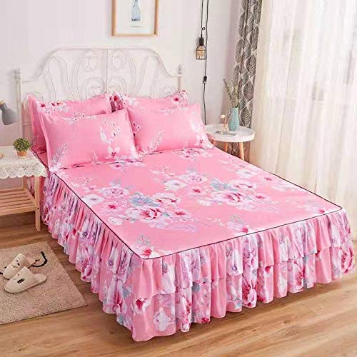 Embroidery Bed Skirt Single/double, Bed Valance Quilted Bed Cover Drawstring Wrinkle Resistant Fade Resistant Cotton Suitable for hotel, bedroom No fading, no ball (Color : L, Size : 200X220CM)