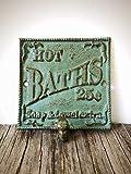 "Vintage Style ""HOT BATH"" Towel Hook Sign – Decorative Cast Iron Bathroom Organizer – Antique Green and..."