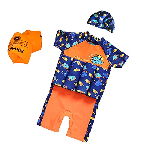 ESA Supplies Floating Swimsuits for Kids Toddlers, Orange and Blue Color with Swimming Cap and Inflatable Arm Ring, Medium
