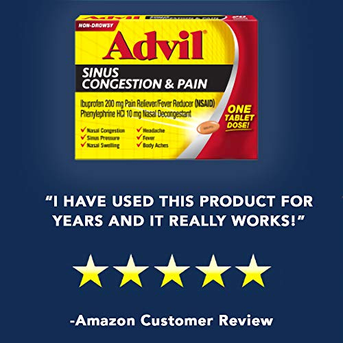 Advil Sinus Congestion & Pain Relief (20 Count Packets), Non-Drowsy, 200mg Ibuprofen Pain Reliever/Fever & Nasal Decongestant, One Tablet Dose