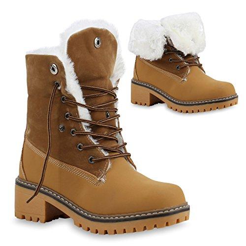 Stiefelparadies Warm Gefütterte Damen Stiefeletten Kunstfell Outdoor Boots 128799 Hellbraun Cabanas 36 Flandell