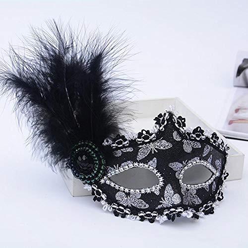 YiYuDe Masken Paintball-Schutzmasken Prinzessin Pie Flower Show Halbmaske Make-Up Kinder Federball, Gold Schmetterling Schwarz