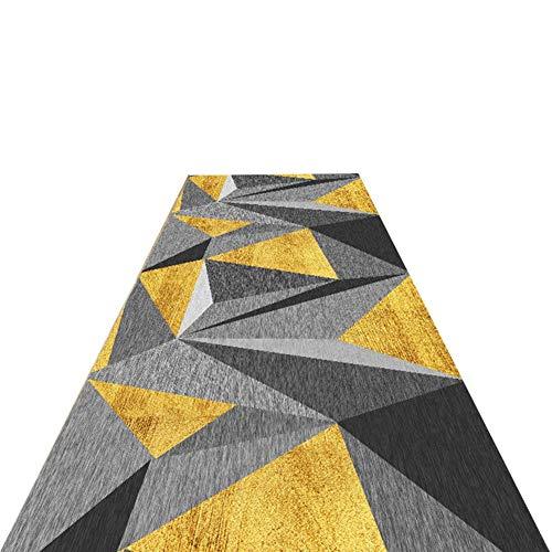 Flur Teppich Läufer Moderne Runner Teppich - Grau Gelb Indoor Teppich mit geometrischem Muster, Boden Anti-Rutsch-Vorleger (Size : W60cm x L200cm)