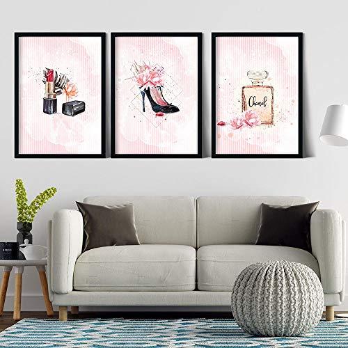 SSHABC Botella de Perfume Rosa Moda Tacones Altos Pintura en Lienzo Póster de Maquillaje e impresión Imágenes artísticas de Pared Chica Moderna Mujer Decoración de habitación-40x50cmx3pcs-Sin Marco