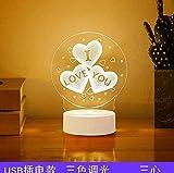 Luz de la noche Proyección exquisita luz de noche de dibujos animados lámpara de mesa 3D personalizada lámpara de mesita de noche led oscilación mesa-tres lámparas de corazón iluminación exquis