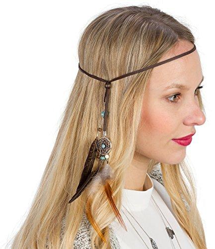 SIX Modisches Haarband mit Traumfänger und Federn: Bandana für Frauen & Männer [weich & elastisch] – Indianerkopfschmuck » Premium Stirnband « Leder-Optik – Indianer Kostüme (456-108)