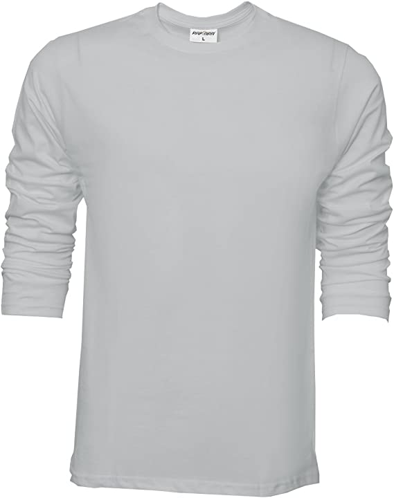 Camiseta básica de Raftaar® para hombre, de manga larga, 100% algodón ligero, color azul