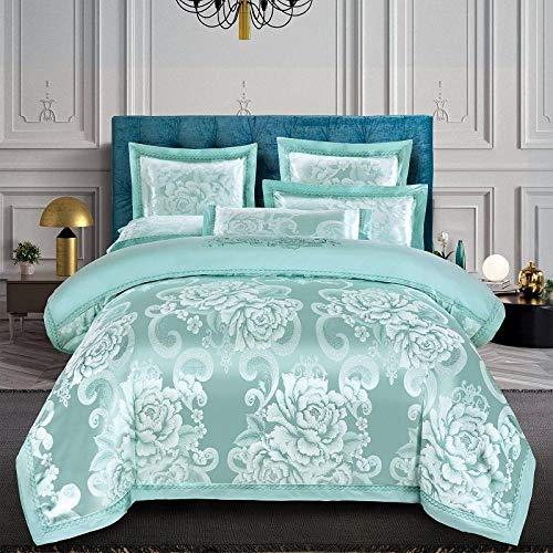 Bettwäschesatz,Satin-Doppelbettgarnitur, Jacquard-King-Bettbezüge und Kissenbezüge für Hotelzimmer @ Green 9_200 * 230 cm (4 Stück)