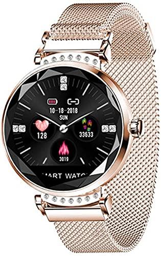 X&Z-XAOY Reloj Inteligente De Moda, Reloj De Pulsera Rastreador De Ejercicios Reloj Deportivo con Recordatorio Inteligente IP67 A Prueba De Agua Ritmo Cardiaco (Color : Gold)