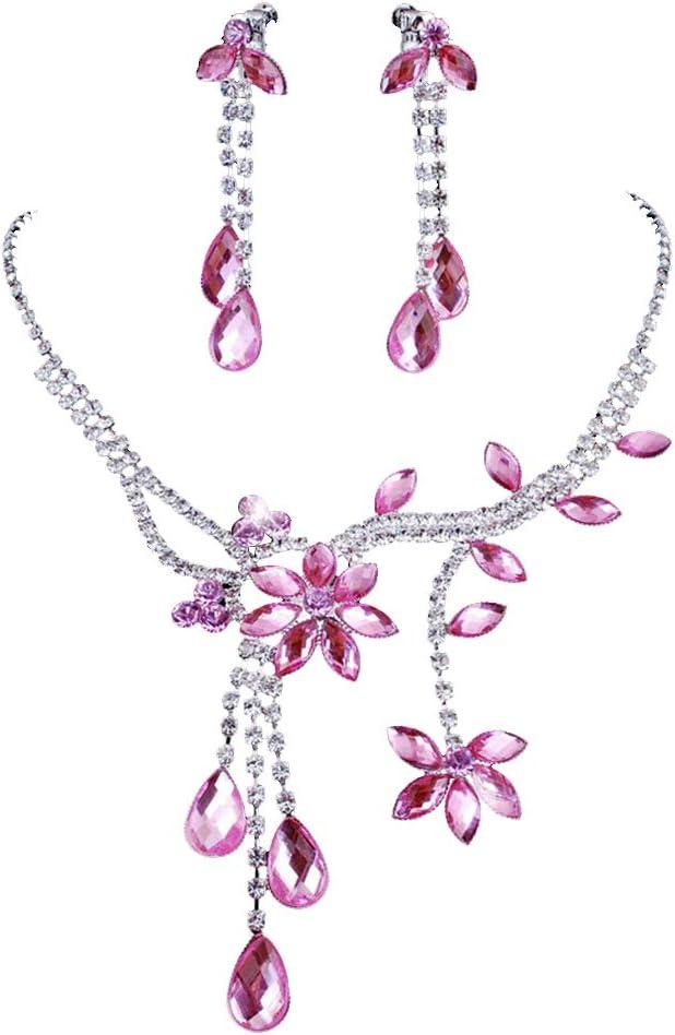 Hithop Chunlin Wedding Bridal Flower Leaf Rhinestone Crystal Necklace Drop Earrings Jewelry Set (Pink)
