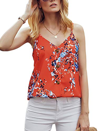 "Ancapelion Damen Sommer Bluse à""rmellose Chiffon Tank Top V-Ausschnitt Shirt Elegant Weste Hemdbluse Loose fit T Shirt mit Trägern, Orange-1, XXL(EU 48-50)"