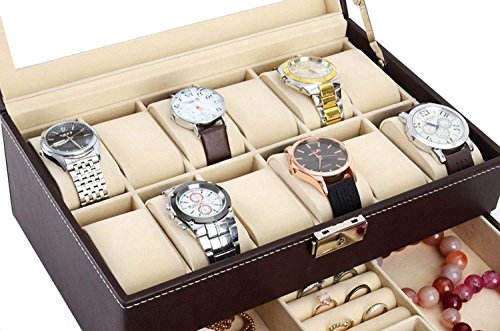 Autoark Leather 12 Mens Watch Box with Jewelry Display Drawer Lockable Watch Case Organizer,Brown,AW-003