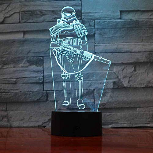 3D Illusion Veilleuse bluetooth Smart Control 7 & 16M Couleur Mobile App Led Vision Star Wars Warrior Enfants USB Mode Table Bébé Chevet Sommeil Décor Unique coloré Creative cadeau