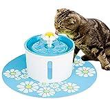 RAKU 自動ペット給水器 超静音 ウォーターファウンテン 犬 猫 水飲み器 BPAフリー 循環式給水器 正規品PSE認証済 活性炭フィルター 食事マット付き 留守番対応 1.6L大容量 (ブルー)