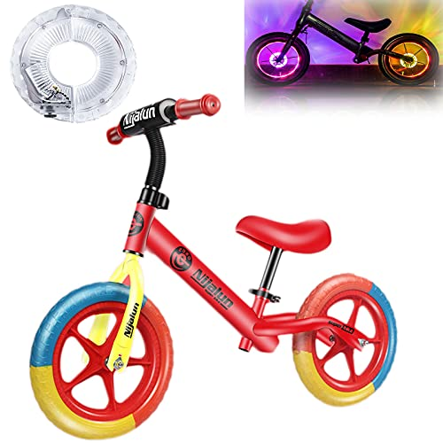 Hmpet Bicicleta Niño 4 Años,Bicicleta de 12 Pulgadas con Pedales,Bicicleta Infantil con Luces de Neumáticos,Bici para Aprender A Mantener El Equilibrio Juguetes para Niños de 2 A 5 Años,A,with Lights