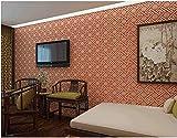Papel pintado decorativo exquisito Estilo chino retro rojo Sala de estar dormitorio oficina TV fondo decoración de la pared 0.53m * 9.5m = 5㎡