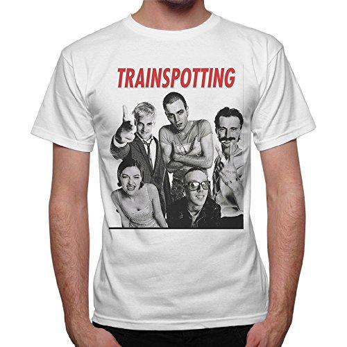 thedifferent T-Shirt Uomo Maglia Film Cult Trainspotting - Bianco (M)