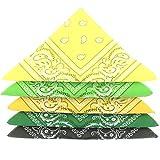 KARL LOVEN Lote de 5 bandanas 100% Algodon Paisley Panuelo Cabeza Cuello Bufanda (Juego de 5, Verde Amarillo)