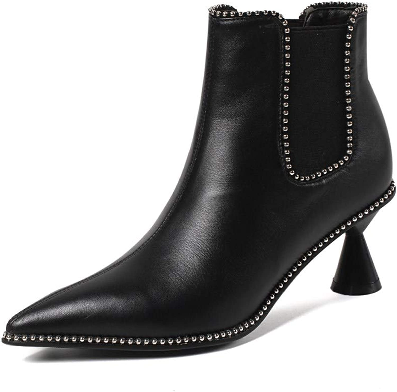 Nine Seven Genuine läder Woherrar Point Toe Exquisite Mid Heel Heel Heel Elastisk sida Handgjord Gracful mode Ankle stövlar  försäljning med hög rabatt