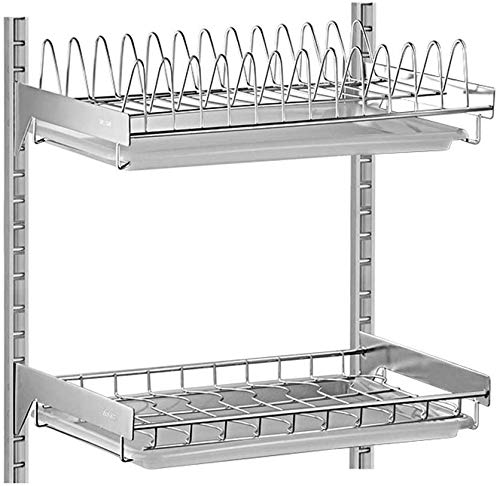 CXHMYC Haushaltsregal Shelf-304 Edelstahl Wandmontage Lochblech-Abtropfgestell/Hänge-Abtropfgestell/Tablett-Abtropfgestell Separator, Edelstahl, a