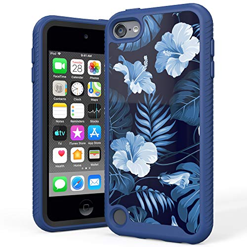 IPASON iPod Touch 7 Case, iPod Touch 6 Case, iPod Touch 5 Case,Dual Layer Hybrid Shockproof Crystal Pattern Protective Cover for Apple iPod Touch 7th 6th 5th Generation,Blue